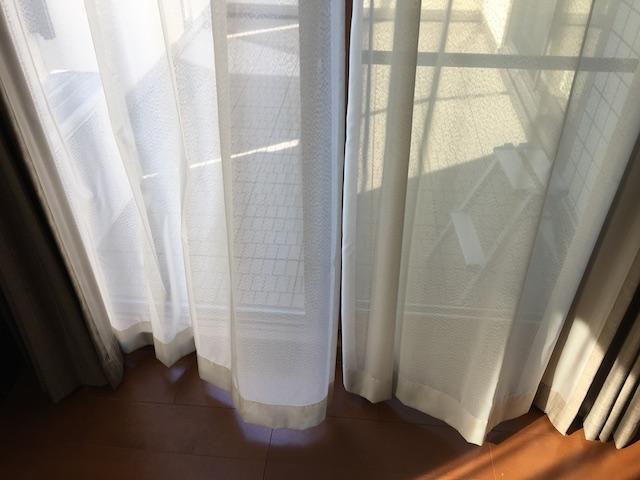 カーテンを干しているところ