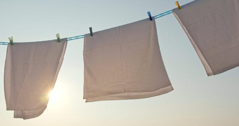 夕方に干してある洗濯物